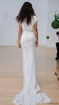 carol hannah 2017 bridal sleeveless v neck simple modern sheath wedding dress medium train (forsythia top amorpha skirt) bv