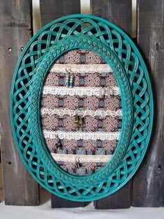 Framed earring holder turquoise upcycled ornate RTS - pinned by pin4etsy.com