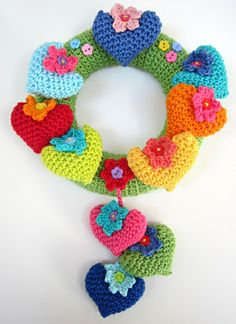 Ring of hearts and flowers crocheted in Planet Penny Cotton Club  rainbow yarn