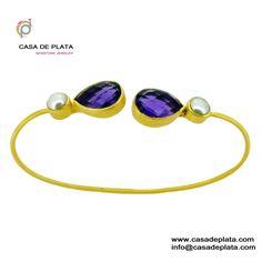 Pearl Amethyst Silver Bracelet   925 Sterling Silver Amethyst and pearl gemstone designer silver bracelet jewelry