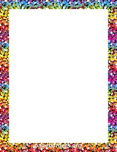 Printable Rainbow Glitter Border. Use The Border In Microsoft Word Or Other  Programs For Creating