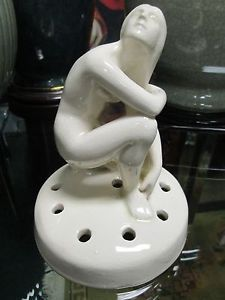 Art Deco Cowan Artist Walter Sinz Kneeling Nude Flower Frog ca.1922 Lg. Base  in Pottery & Glass, Pottery & China, Art Pottery, Other American Pottery | eBay