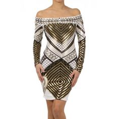 fb267657f746da 3558 Polyester Spandex S/M/L White This HIGH QUALITY dress is GORGEOUS!  Beautifully designed, this metallic print off shoulder thigh length dress  with long ...