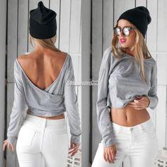 Women-V-Back-Grey-Crop-Tops-Long-Sleeve-Shirt-Round-Neck-T-shirt-Blouse-FT