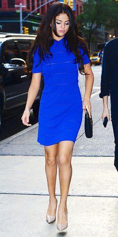 Selena Gomez wowed in a cobalt blue Vionnet shift dress, coupling it with a cross-body purse and nude Kurt Geiger pumps.