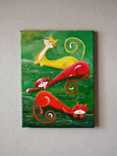 Peinture originale de Cat à vendre : Fantasy chats « Détente in the Meadows », acrylique sur toile