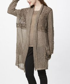 Look what I found on #zulily! Khaki Embroidered Long Cardigan #zulilyfinds