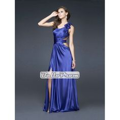 A-line One Shoulder with Flower Satin Long Prom Dress PD33875 at belloprom.com