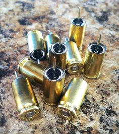 10 Ten brass Bullet Push Tacks by 2ndChance2012 on Etsy, $4.99