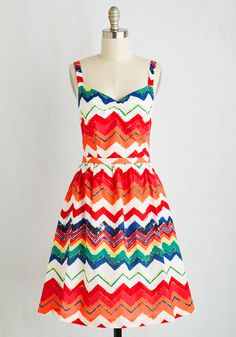 Dreams and Desires Dress - Fill your heart with passion and your wardrobe with beauties like this cotton A-line dress, and jubilation is sure to follow! Part of our ModCloth namesake label, this woven wonder makes your day with prismatic chevron stripes, a tailored bodice touched with ruching, and secret pockets on its gathered skirt. Glorious!