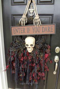 DIY Halloween Skull Door Hanger #spookyspaces {Made In A Day Inspire & Create}