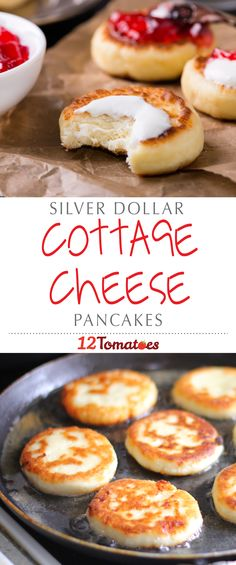 Silver Dollar Cottage Cheese Pancakes That's right, stuffed with protein-packed cottage cheese, we've turned the standard pancake into something that has some serious nutritional value. Queijo Cotage, Protein Snacks, Healthy Snacks, High Protein, Eat Healthy, Whey Protein, Cottage Cheese Nutrition, Good Food, Yummy Food