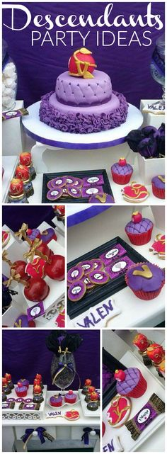 How cool is this Disney Descendants girl birthday party?! See more party ideas at CatchMyParty.com!