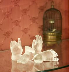 Cast Glass Hands | Baby hands and feet in kiln cast glass