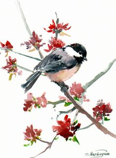 Chickadee Original watercolor painting 12 X 9 in by ORIGINALONLY, $32.00