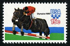 This stamp, from the 1980 Summer Olympic Games Issue, honors equestrian competition.  Equestrian events are the only Olympic events where men and women compete directly against one another.