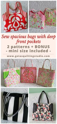 Bag patterns for two spacious bags with deep front pockets. Bonus: templates for a very large bag; mini size included too. via @getagrama