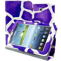 Purple And White Pattern PU Leather Stand Case For GALAXY Tab 3 P3200