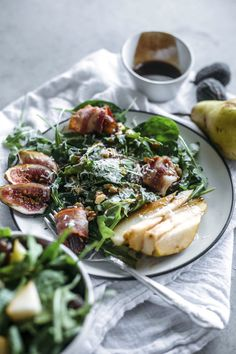 Pear Salad | This fall-flavored salad is topped with pears, fresh figs…