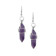 Pendientes de gota de piedra púrpura - US$5.95 -YOINS