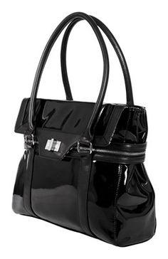 Czarna, lakierowana torba