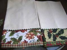 panos+de+prato+com+barrados+de+tecidos+de+natal Christmas Towels, Christmas Tea, Handmade Christmas, Christmas Crafts, Dish Towel Crafts, Dish Towels, Tea Towels, Small Sewing Projects, Sewing Crafts