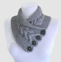 Free knitting pattern for Gray Cable Neckwarmer and more neck warmer knitting patterns