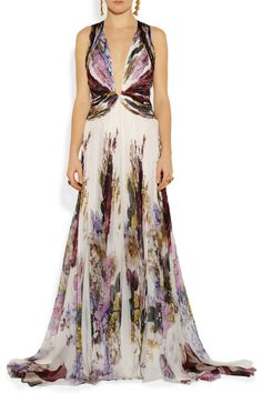 Roberto cavalli Printed Silk-chiffon Gown in Multicolor | Lyst