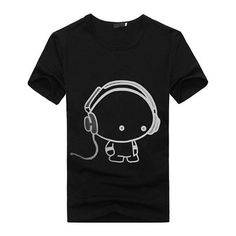 3c6adf7973f6 CUTE CARTOON WITH HEADPHONES FUNNY T-SHIRT from REBEL STYLE SHOP