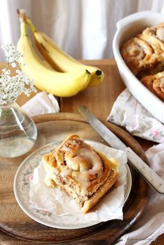 5 Mimutes Cake Recipe for cinnamon rolls with banana , Cinnamon Recipes, Banana Recipes, Strawberry Recipes, Cinnamon Rolls, Cake Recipes, Banana Cinnamon, Pampered Chef, Food Illustrations, No Bake Desserts