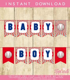 Boy Baby Shower Bunting Banner Baseball Theme Party Instant Download Printable And Editable Pdf Pretty Printables Guess The Party  by TppCardS #tppcards