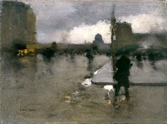 A Boulevard in Paris on a Rainy Day, The Pantheon Beyond by François-Joseph Luigi Loir (French, 1845 - 1916)