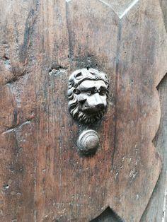 Leon head door bell from Pienza Italy. Old wooden door with lovely brown colour.