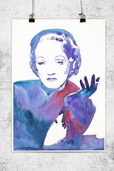 Das sind die besten Deko Ideen für dich, wenn du nach Hollywood verrückst - Aquarell -Marlene Dietrich