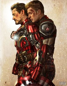 """petite-madame:  """"  Civil War - 2017  Present for artist friend Kleinmeli who was sad there were not enough Stony artworks out there. Here is one ♥ (Photoshop CS6 - Painter 12)  """"  @petite-madame you are the best Please do more Stony"""
