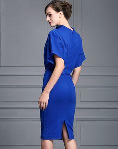 Royal Blue Batwing Sleeve Luxe Look Sheath Midi Dress