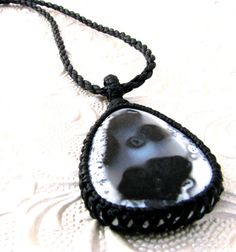 Dendrite Opal Necklace / Macrame / Gemstone Necklace / Healing stones / Classic / Black / White / Unique Jewelry /