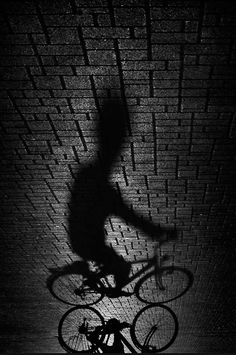 Bike Rider Shadow on the Bricks // Black and White photography