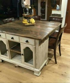 Old buffet turned into kitchen island... Looks so beautiful...       http://www.hometalk.com/8643449/from-buffet-to-rustic-kitchen-island?expand_all_questions=1