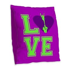 """Purple and Green Cheerleader Burlap Throw Pillow 16"""" or 18"""" square with image printed on both sides Durable Polyester Burlap  #pillow #pillows #homedecor #bedroom #cheer #cheerleading #cheerleader #cheerleaders #allstars #gifts"""
