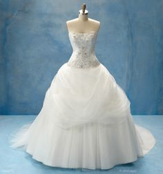 Belle, from Alfred Angelo's Disney collection. Comes with a detachable tulle wrap, not shown in this website's pic.