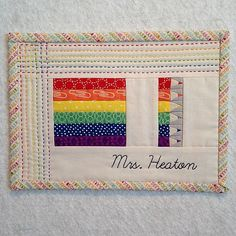 Mrs Heaton Mug Rug great quilting idea for top work
