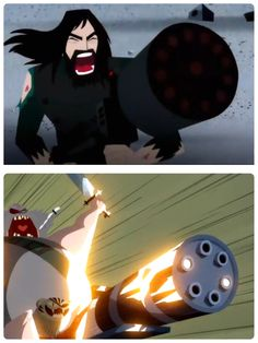 Samurai jack and the scoutman most famous battle cries and especially their gun upgrade season 5