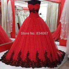 Red Ball Gown Wedding Dress 2016 vestido de noiva Black Lace Appliques Bridal Gowns Romantic Back Lace Up Wedding Dress