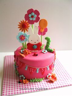 Miffy bunny cake. So cute! I love it, it's small too, for actual humans with no friends!