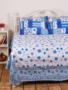 Beautiful Blue and White double Bedsheet from Urban Buy