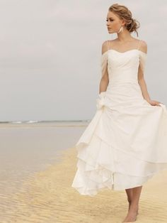Buy Chic A-Line Sweetheart Empire Waist Flowers Ankle-Length Taffeta Wedding dress WD-9753 Beach Wedding Dresses under $169.99 only in DressesTime.