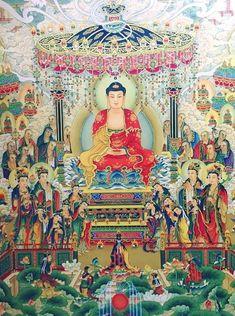 Peaceful Words, Amitabha Buddha, Chinese Mythology, Green Tara, Buddha Art, Hindu Art, Indian Paintings, Gods And Goddesses, Namaste