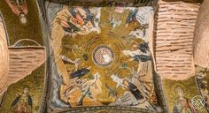 Chora Museum, Temptation of Christ.  The mosaic is showing four episodes of Christ being confronted by the Devil. After the baptism of Jesus, the Holy Spirit wished to test him and brought him into the desert to fast for 40 consecutive days and nights. He became hungry and was tempted by the Evil, shown as a dark winged creature with hair standing up on the end.