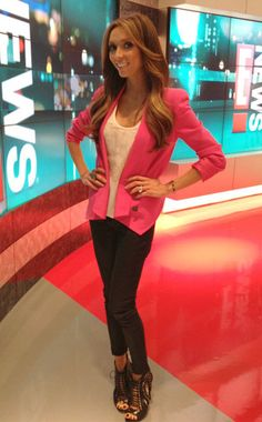 I love this! I need to get a pink blazer like hers!!!